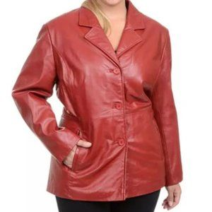 Excelled Red Leather Blazer Jacket Large